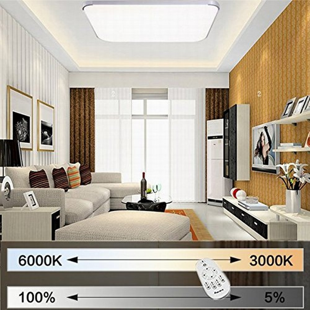 MCTECH 36W Dimmbar LED Deckenleuchte Modern Deckenlampe Flur Wohnzimmer Lampe Schlafzimmer AC 85V 265V Fernbedienung Panel Badleuchte