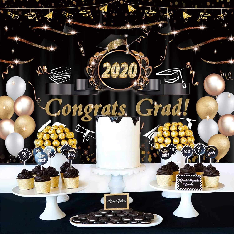 DaShan 12x8ft 2020 Class Graduation Backdrop Bachelor Cap Colleage Grad Graduation Celebration Party Banner Photography Background Prom 2020 Cake Table Banner Rustic Wooden Photo Studio Props