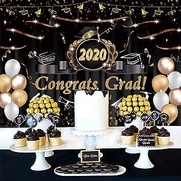 DaShan 6.5x6.5ft Class of 2020 Graduation Prom Backdrop Glitter Stars Bachelor Grad Celebration Party Banner Photography Background Shining Graduation Prom Night Party Portrait Photo Studio Prop