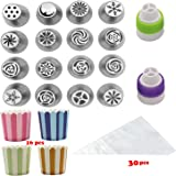 16pcs Russian Piping Tips Icing Nozzles Frosted Tips For Cake Decorating,Coming with 16 Cupcake Cups and 30 Large Pastry Bags and Colors Couplers