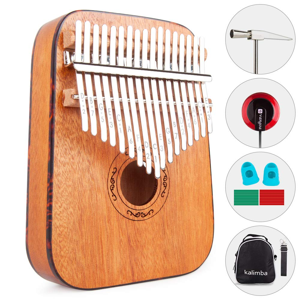 Vangoa 17 keys Kalimba Thumb Piano kit, Rounded Edges Electric Kalimba, Portable Mahogany Wood with Tuning Hammer, Carry Bag, pickup and key stickers