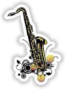 Tiukiu Saxophone Jazz Sticker for Laptop Book Fridge Guitar Motorcycle Helmet Toolbox Door Luggage Cases
