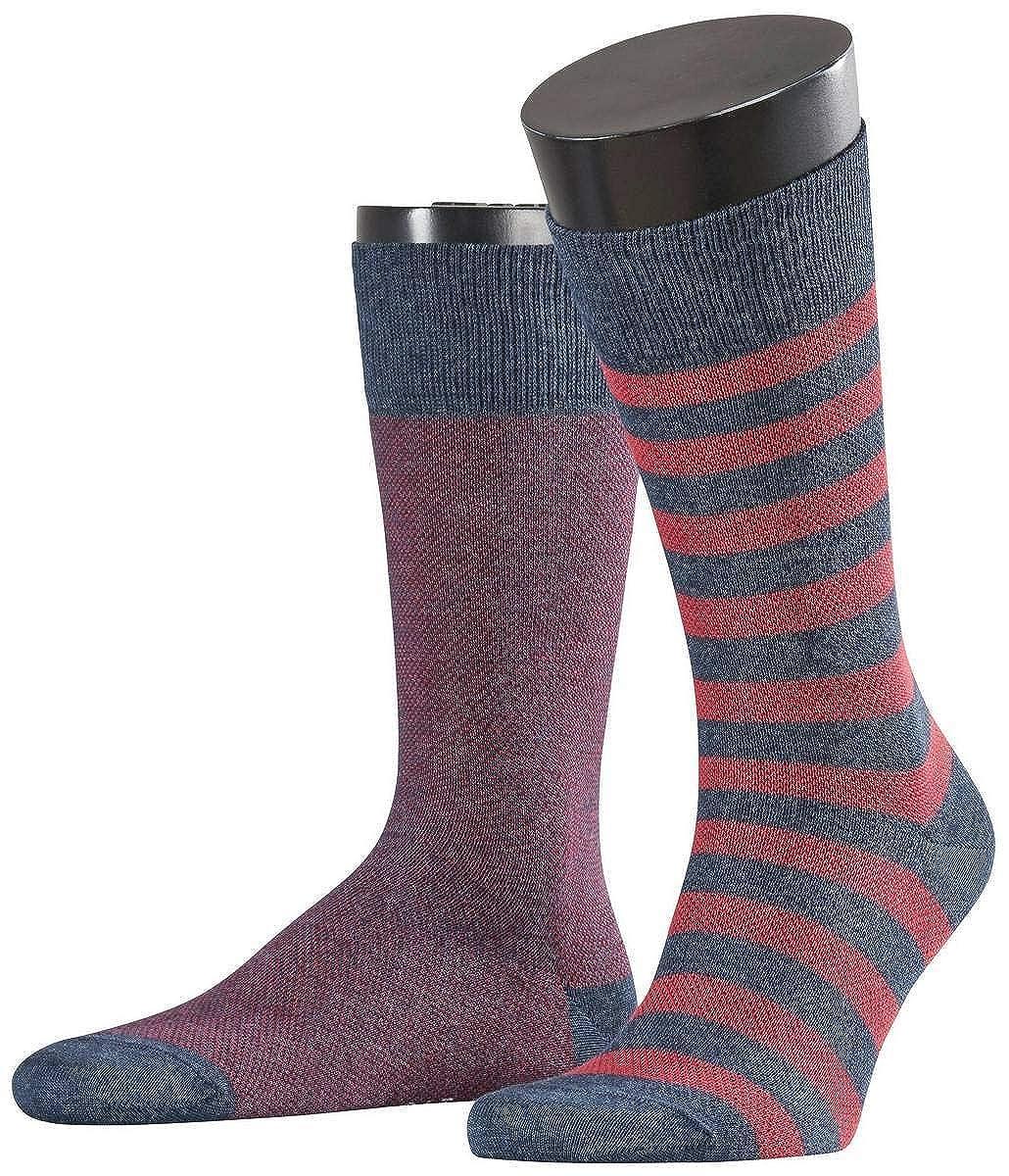 4325ddba242fb Esprit Mens Pique Stripe 2 Pack Socks - Navy Melange/Red at Amazon Men's  Clothing store: