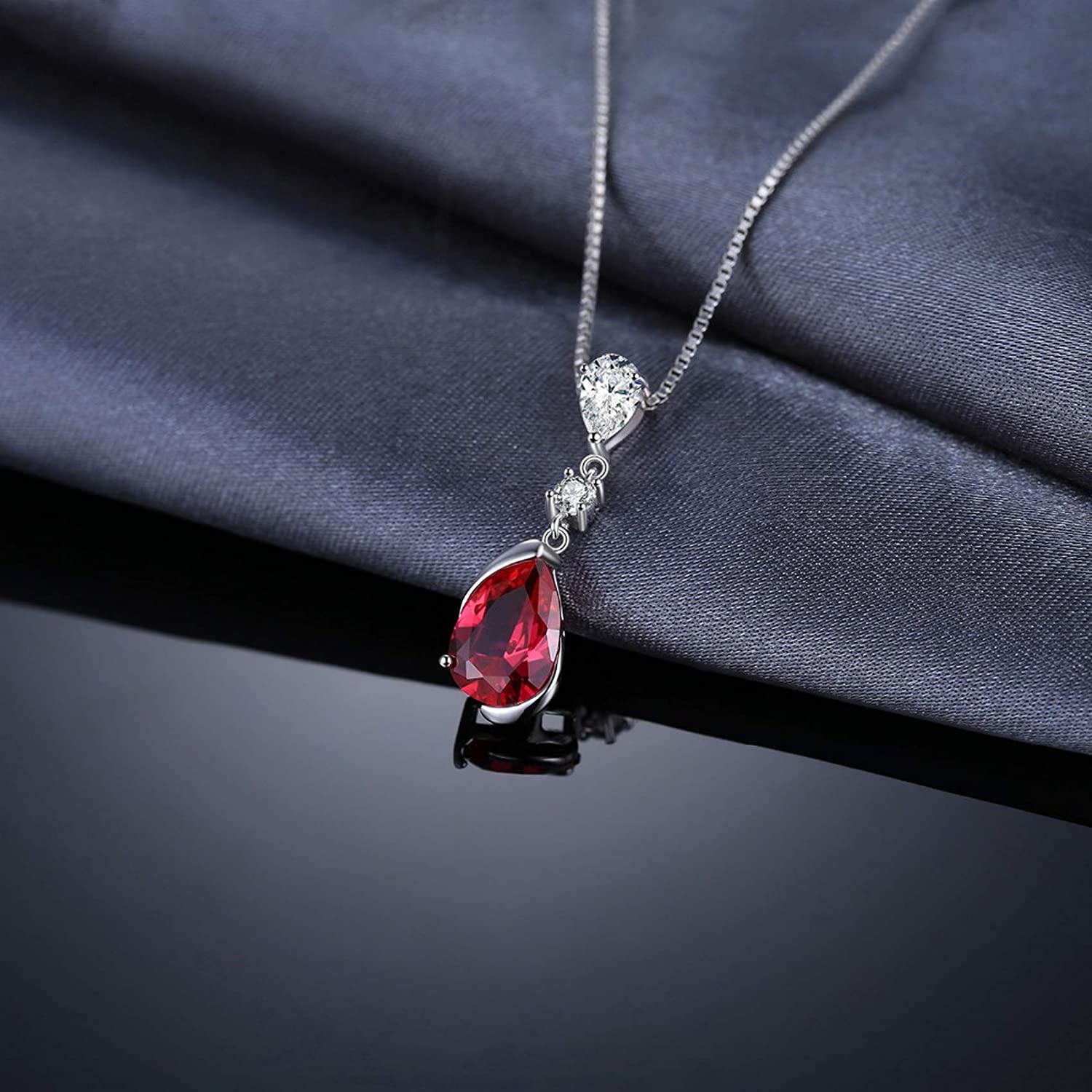 MMC Womens 3.27ct Pear Red Ruby Fashion Silver Pendants Necklaces