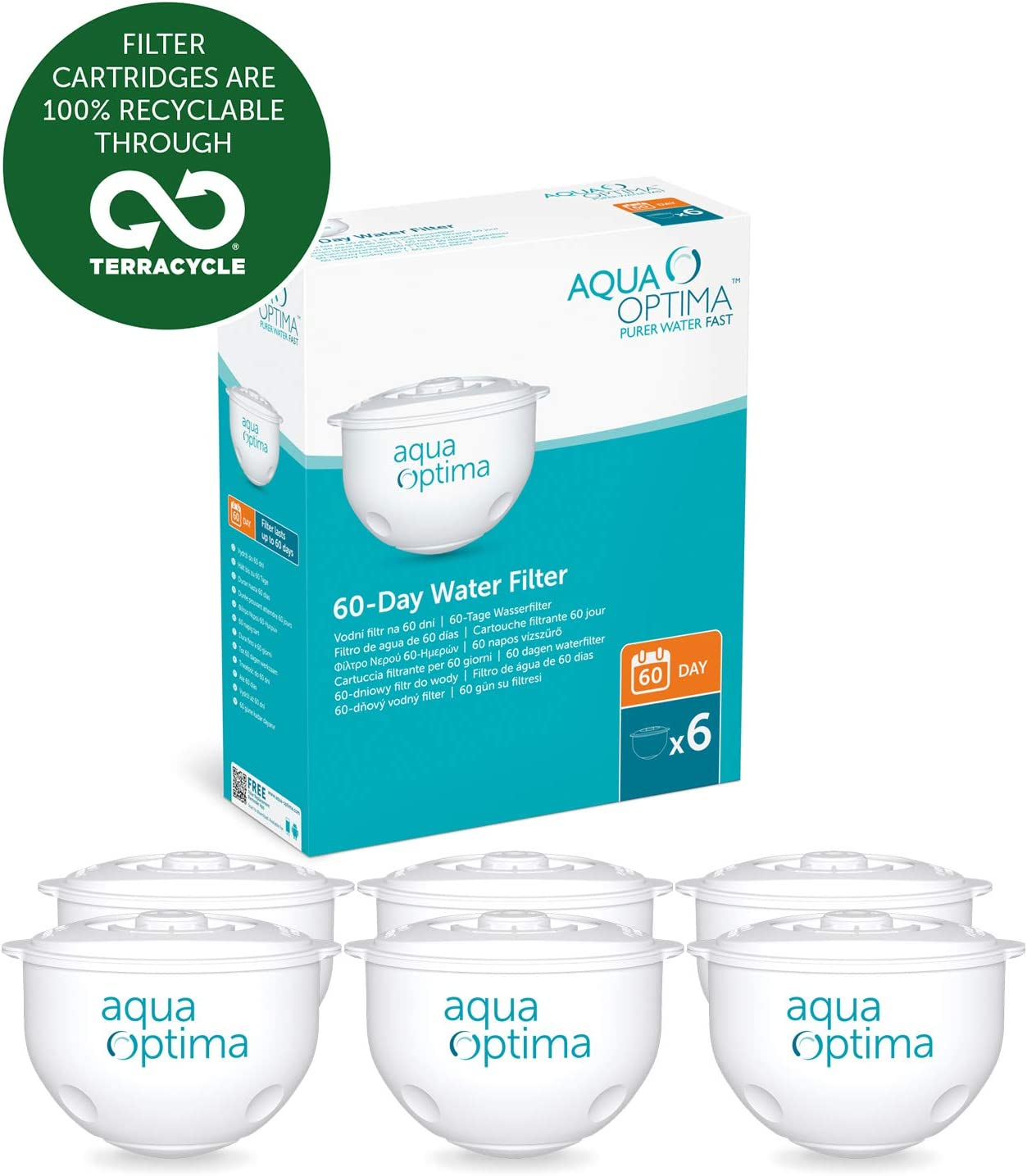 Aqua Optima Original 12 month pack, 6 x 60 day water filters - SWP336