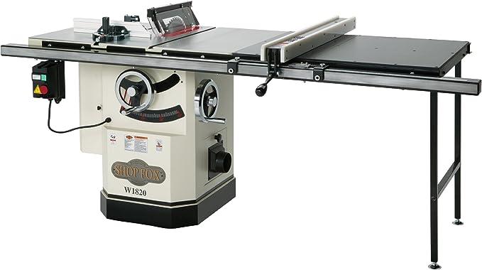 Shop Fox W1819 3 HP sierra de mesa de 10 pulgadas con cuchillo de remache: Amazon.es: Bricolaje y herramientas