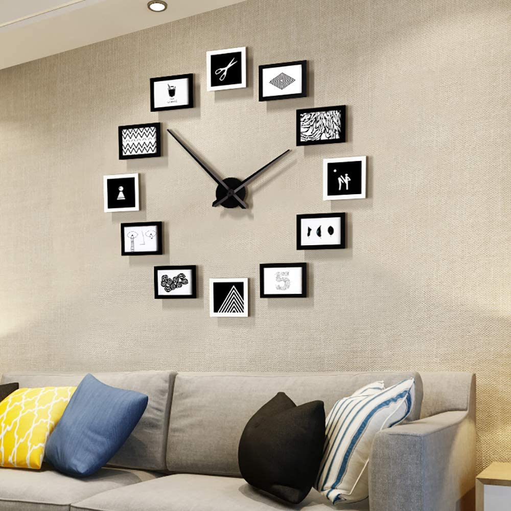 Fleble DIY Big Wall Clocks Large Decorative Modern Style Wooden Photo Frame Design Clock Silent for Living Room Bedroom Office School Home, Art Pictures Frame Wall Decor