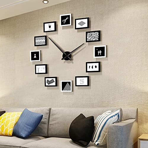 FLEBLE DIY Big Wall Clocks Large Decorative Modern Style Wooden Photo Frame Design Clock Silent