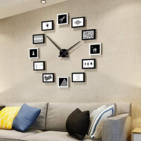 Amazon Com Fleble Diy Big Wall Clocks Large Decorative Modern Style Wooden Photo Frame Design Clock Silent For Living Room Bedroom Office School Home Art Pictures Frame Wall Decor Kitchen Dining