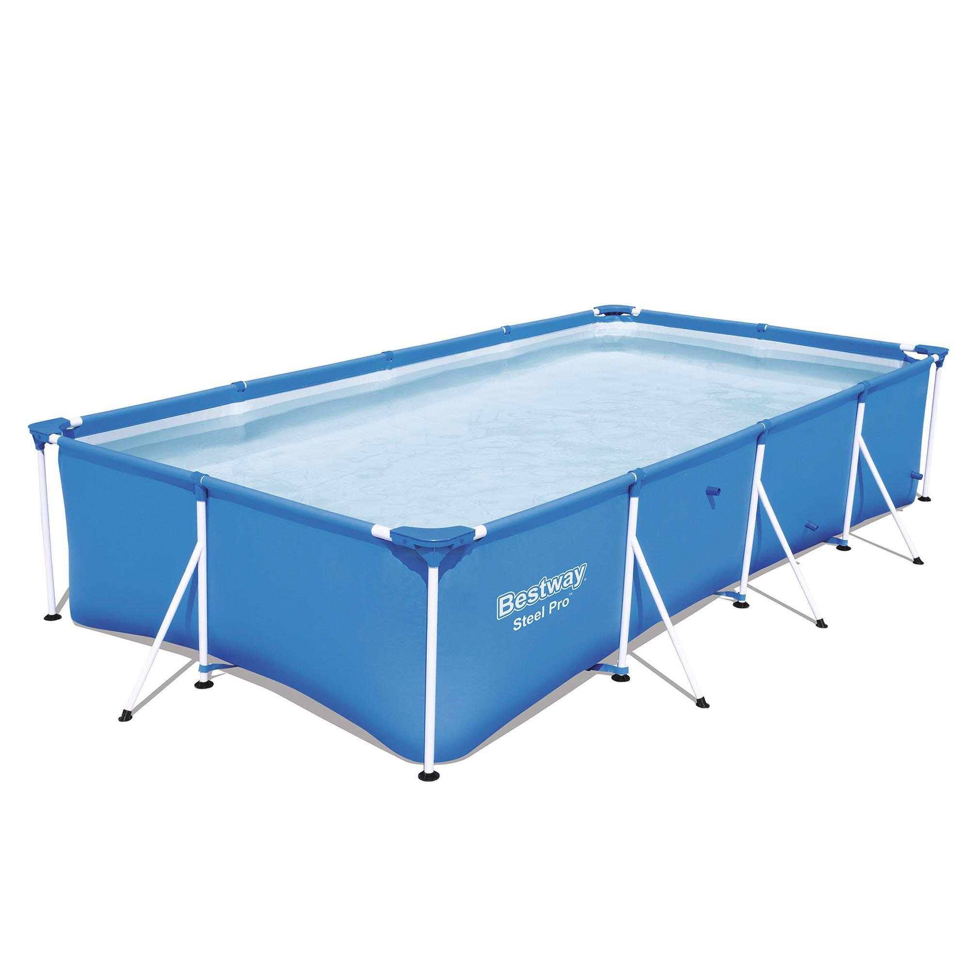 Bestway Steel Pro 157 x 83 x 32'' Rectangular Frame Above Ground Swimming Pool