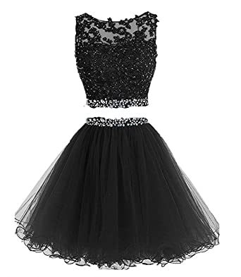 HeleneBridal Womens Two Pieces Short Prom Gowns Beaded Homecoming Cocktail Dresses