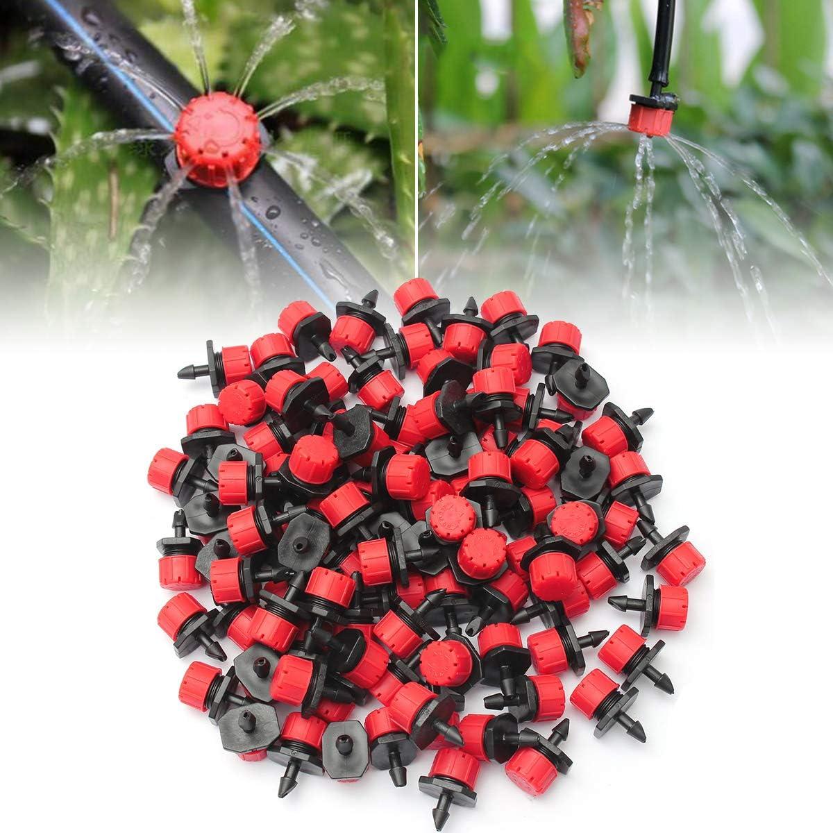 OUTERDO Goteros de riego y aspersores con lengüeta ajustable de 360 ° para macizos de flores, huertos, césped (110 piezas)