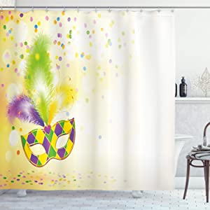 "Ambesonne Mardi Gras Shower Curtain, Festival with Ornamental Feathers Colorful Dots Party, Cloth Fabric Bathroom Decor Set with Hooks, 75"" Long, Yellow Green Purple"