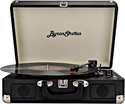 Byron Statics Turntable Vintage Record Player Portable Vinyl Player Nostalgic Built in 2 Stereo Speakers 3 Speeds Replacement Needle DC in Standard ...