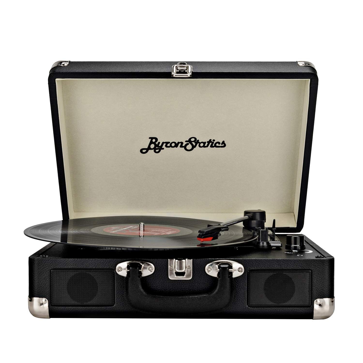 Byron Statics Record Player Vinyl Vintage Turntable Portable Nostalgic 3-Speed 2 Stereo Speakers Replacement Needle 9V 0.8A DC in Standard RCA Headphone Outputs Black