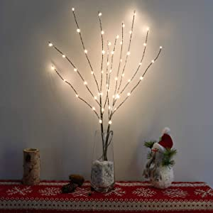 Vanthylit 2PK 30'' Twig Brown Branch with a Thin Layer of Snow with Fairy LED Lights 50LED Battery Operated Lighted Decoration Indoor Outdoor Use(Vase Excluded)