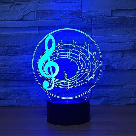 Bedroom LED Night Light Musical Note Treble Clef Table Bedside Lamp Decor EUPlug
