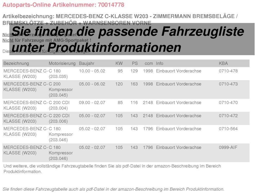 Zubeh/ör Warnsensor vorne Zimmermann Bremsbel/äge//Bremskl/ötze