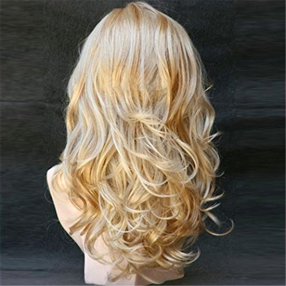 Women's Long Curly Blonde Wig, Wavy Heat Resistant Synthetic Wig (Blonde)