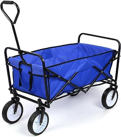 HOMFA Carro Plegable de Mano Carro transporte para jardín Carro para playa Carga 80kg (Azul): Amazon.es: Hogar