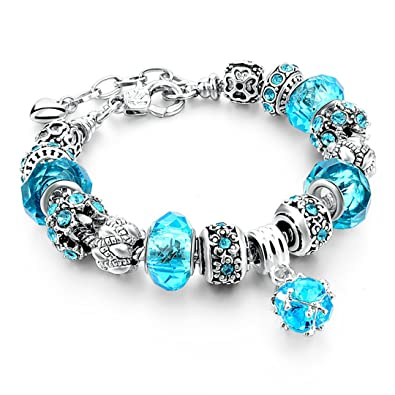 c014be7c1 Capital Charms Ocean Blue Silver Plated Charm Bracelets for Women and Girls  - Custom Gifts, Crystal Beads and Universal Fit: Amazon.ca: Jewelry