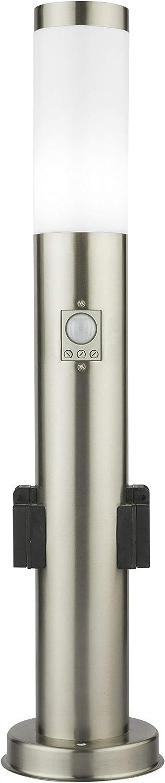 Standleuchte 65cm mit zwei Steckdosen Bewegungsmelder und D/ämmerungssensor Pollerleuchte Gartenleuchte Edelstahl S10KS IP44 E27 230V