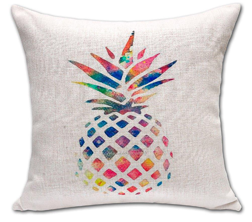 パイナップル サボテンプリント クッションカバー ChezMax 綿麻 スロー 枕カバー シャム フォーム ピロースリップ スリップオーバー スクエア ファスナー付き 柄付き枕カバー ホーム ソファ イス用, WITH FILLER CM-MY-P1008-011-1 B01C8LP102 WITH FILLER|Rainbow Pineapple Rainbow Pineapple WITH FILLER