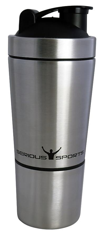 SERIOUS SPORTS Premium Protein-Shaker La proteína agitador| Hecho de acero inoxidable 18/8 de alta calidad | Mezclador de proteínas con compartimento ...