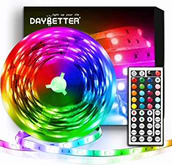 DAYBETTER Led Strip Lights 16.4ft Flexible Color Changing Led Lights 5050 RGB LED Light Strips Kit 5m with 44 Keys IR Remote and 12V Power Supply for Bedroom, Kitchen, Home