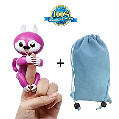 Interactive Finger Baby Squirrel With Storage bag– Robot Toy - Electronic Pet Toy for Children - Finger Puppets - Stem Toys for Kids Children – Christmas gift - (Purple)