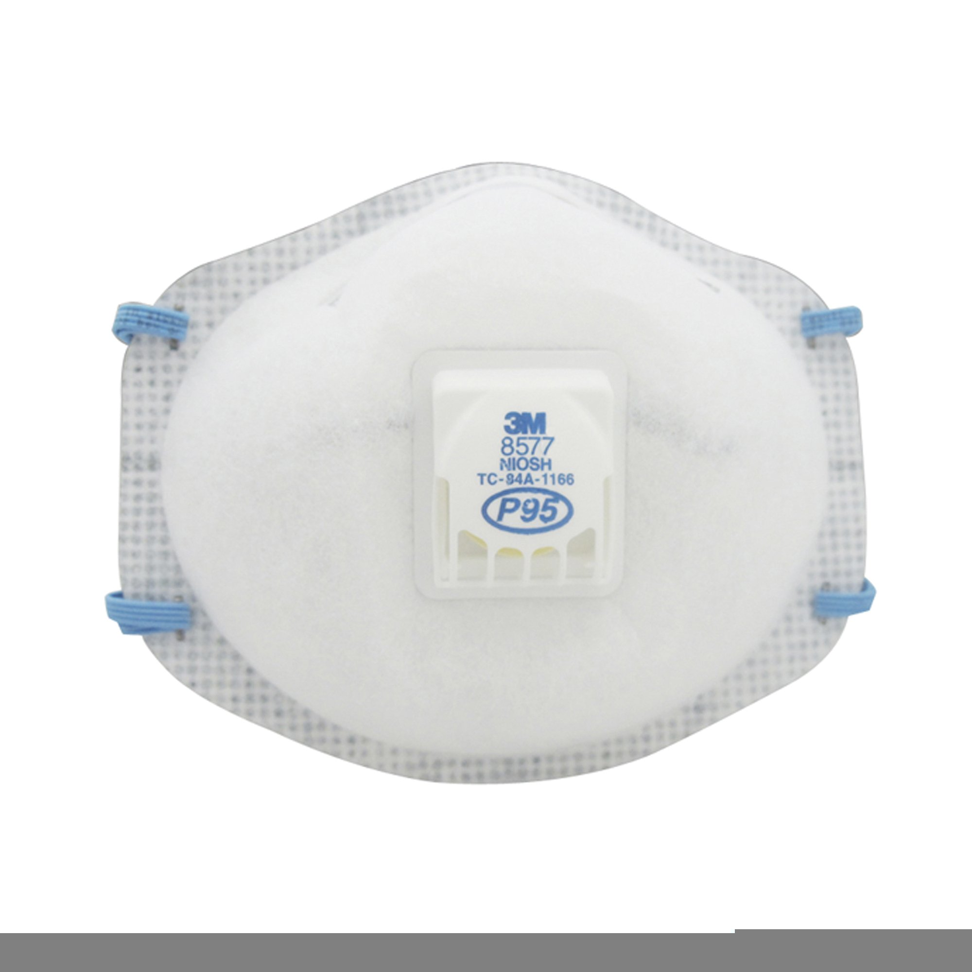 3M Standard P95 8577 Disposable Particulate Respirator With Cool Flow Exhalation Valve And Adjustable M-Nose Clip - Meets NIOSH And OSHA Standards (10 Packs)
