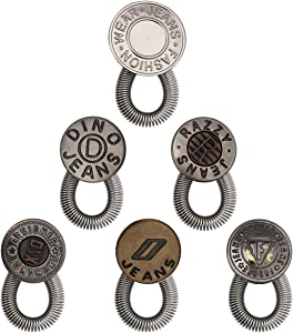 Pants Extender Button, Luxiv 6 Style Jeans Waistband Extender Button No Sew Metal Collar Button Pregnancy Pant Extenders Elastic Spring Buttons for Jeans, Collars, Cuffs (6 P)