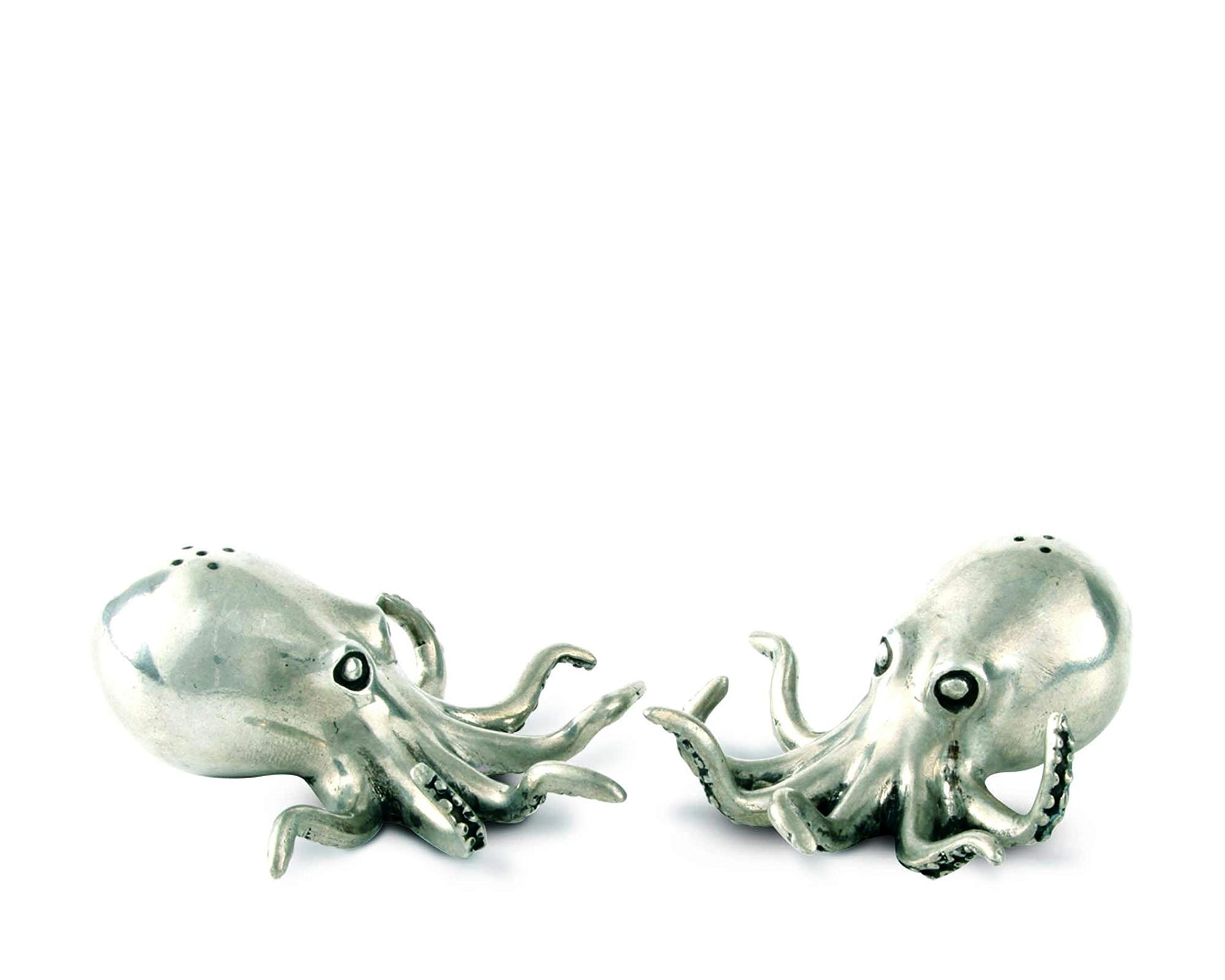 Vagabond House Pewter Octopus Salt and Pepper Shaker Set 3''Long x 1.5'' Tall by Vagabond House