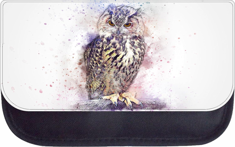 Watercolor Owl Print Design Black School Backpack /& Pencil Bag