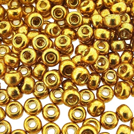 6mm Round Glass Beads Metallic Suede Gold 79080 50 beads