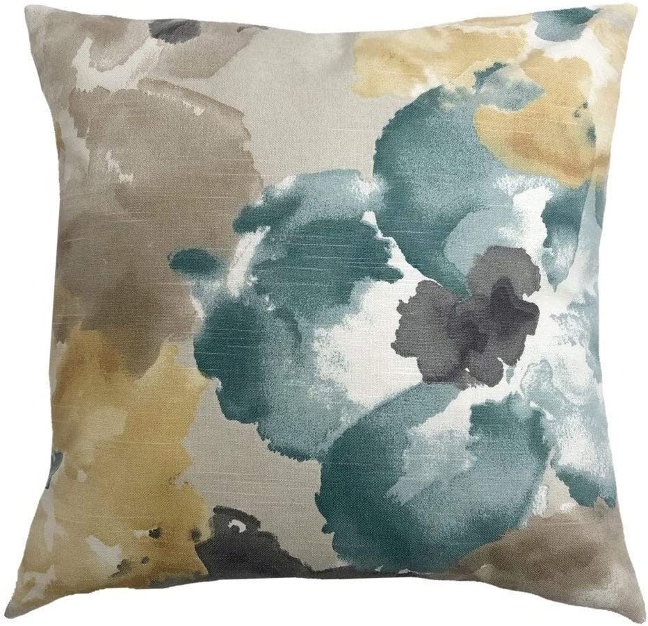 None Brand Floral Dew Throw Pillow Cover Grey Taupe Pale Yellow Tan and Teal Accent Pillow Case Home Decor 18x18