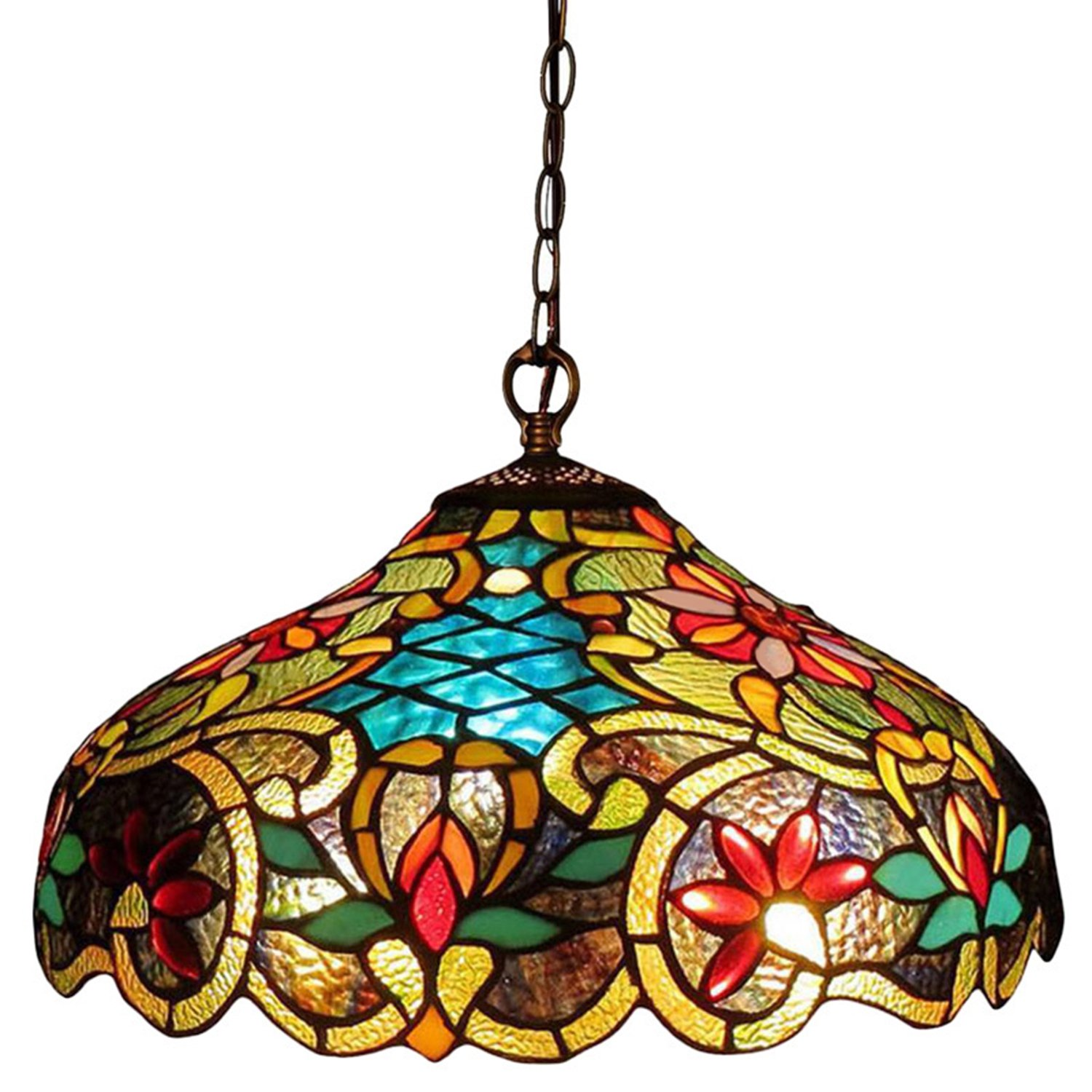 Tiffany style chandelier lighting 2 light pendant hanging lamp colorful glass victorian ceiling light fixture h 12 x d 18 inches shade dark antique