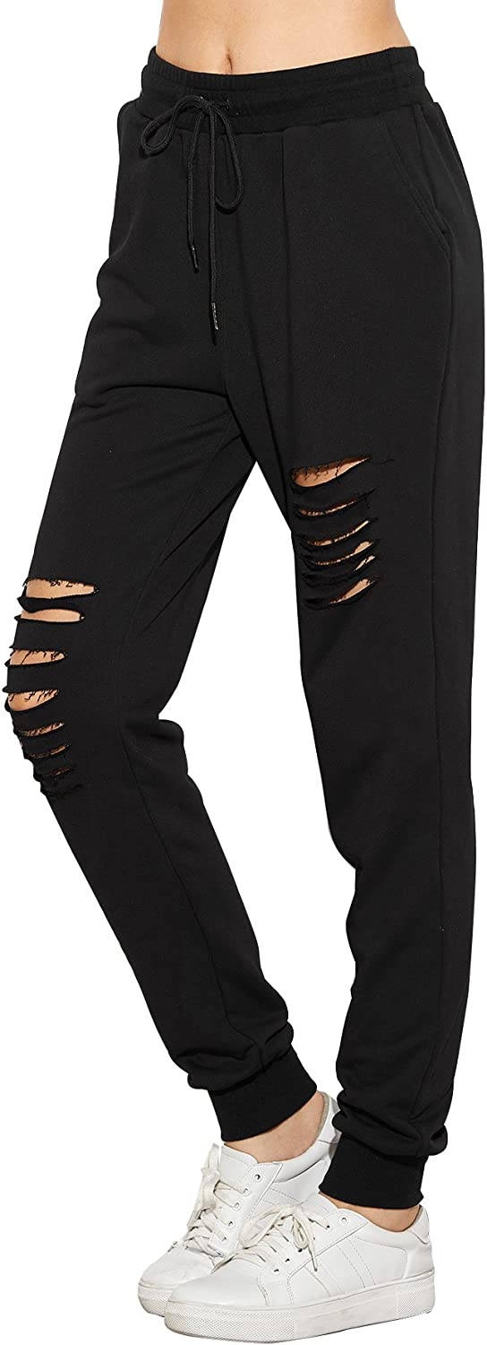 SweatyRocks Women's Ripped Pants Drawstring Yoga Workout Sweatpants Heather