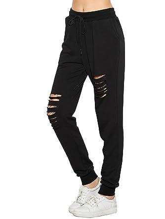 4bf8ee3683b31 SweatyRocks Women s Ripped Pants Drawstring Yoga Workout Sweatpants Black XS