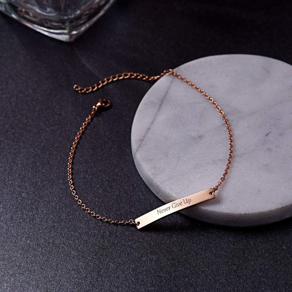 LONAGO 925 Sterling Silver Personalized Name Bar Bracelet Engraved Bar Bracelet for Couples Family Friends