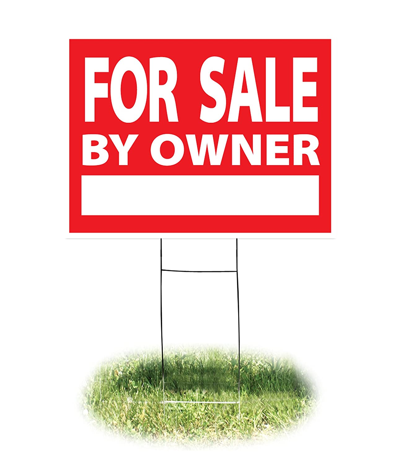 "Headline Sign - Yard Sign,""for Sale by Owner"" Sign with H-Frame, 18 x 24 Inches, Red and White (4728)"