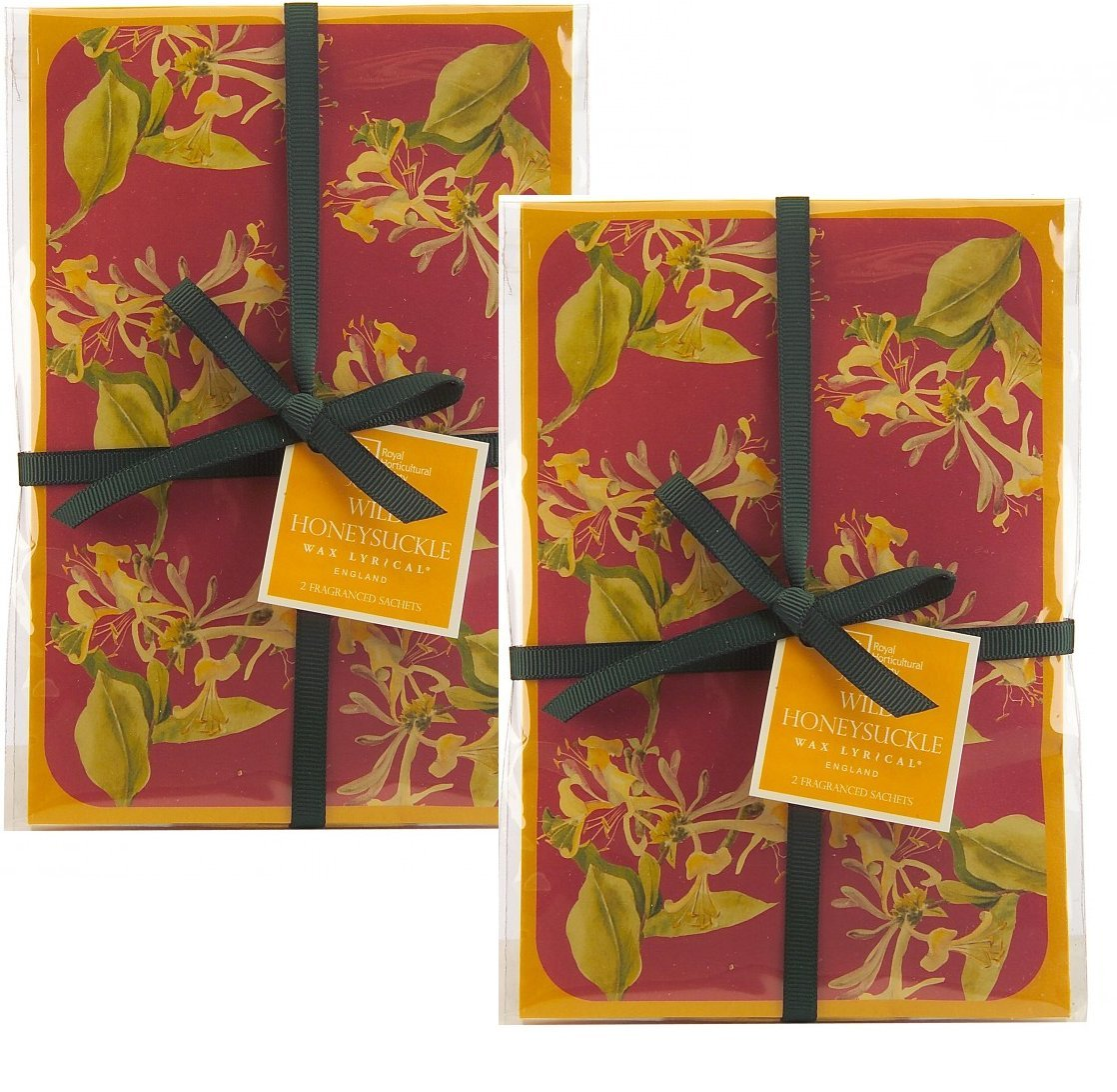 Pack of 4, 2 Sets of 2 Honeysuckle Scented Sachets, Wax Lyrical Royal Horticultural Society Garden