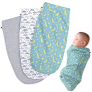Henry Hunter Baby Swaddle Cocoon Sack | The Simple Swaddle | Soft Stretchy Comfortable Cotton Receiving Blanket for Infants & Newborns 0-3 Months (3 Pack) - Cloud | Moon | Light Heather)