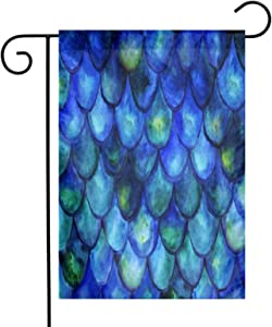 Augenstern Garden Flag Watercolor Blue Fish Scales 12 X 18 Inch Winter Yard Flag Double Sided Yard Decorations Holiday Outdoor Flag
