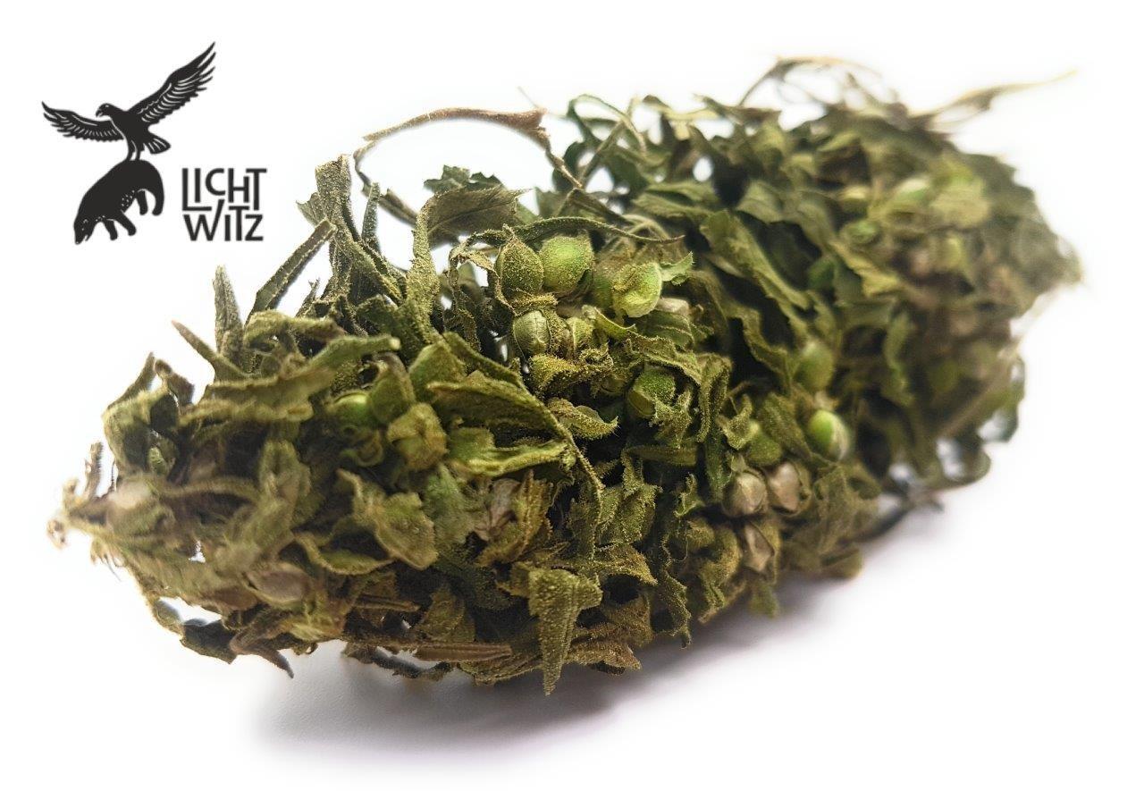 LichtWitz - Tè da bagno con fiori di canapa, decorato a mano e confezionato con amore, 100% legale, 100% erba di canapa, 25 g