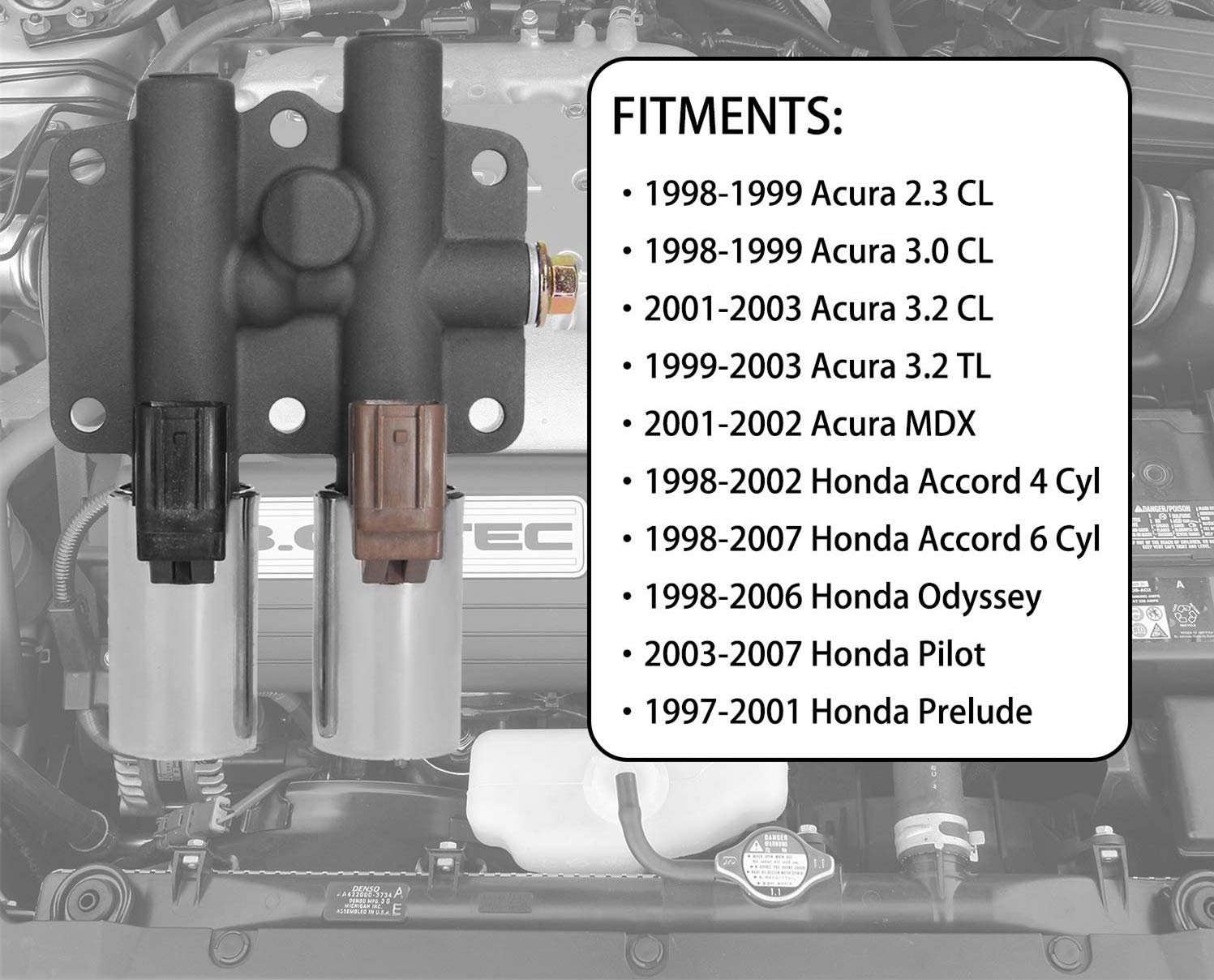 Transmission Dual Linear Solenoid with 1PCS Gasket and 3PCS O-Rings for Honda Accord Odyssey Acura CL TL MDX Pilot Prelude Replace OE# 28250-P6H-024 28250P6H024