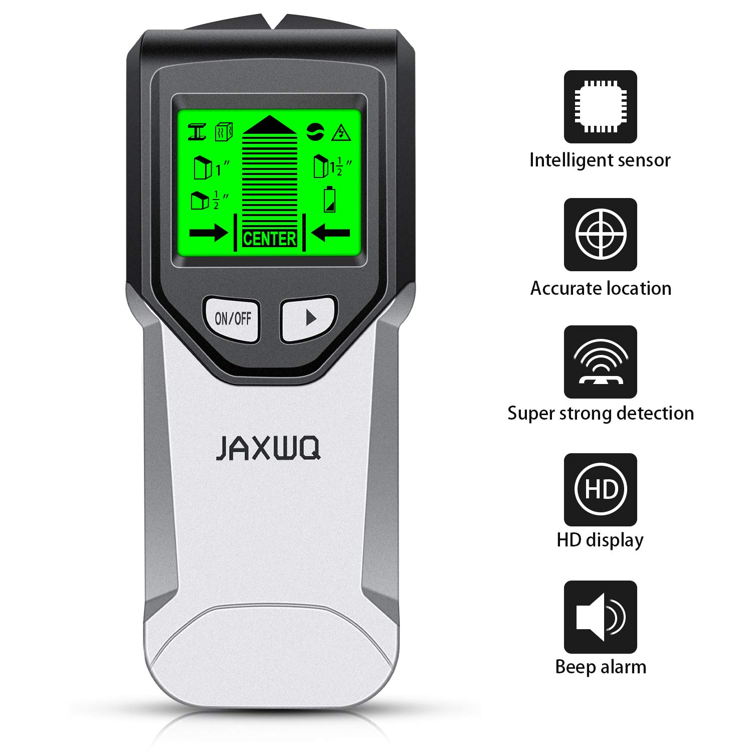 Stud Finder - JAXWQ 5 in 1 Multifunction Wall Scanner with Intelligent Microprocessor chip, HD LCD Display and Audio Alarm, Accurate and Fast Location for the Center and Edge of Metal, Studs, AC wire