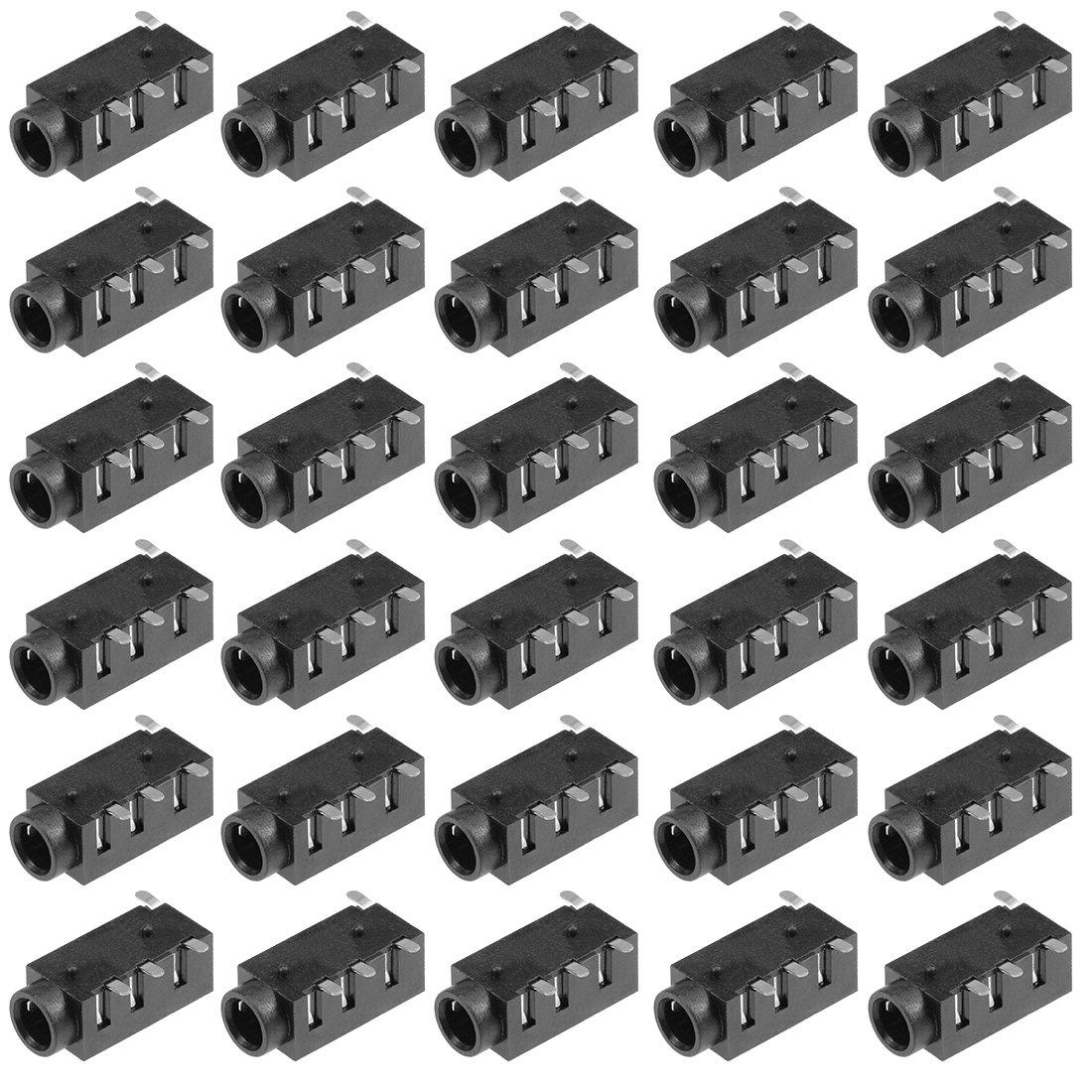 uxcell 30Pcs PCB Mount 3.5mm 4 Pin Socket Headphone Stereo Jack Audio Video Connector Black PJ320D