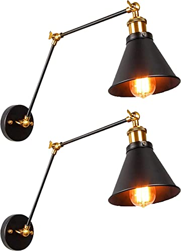 Jiguoor Wall Sconces Light 2 Pack Swing Long Arm Wall Lamp Vintage Industrial Wall Mounted Reading Light Fixture Black Metal Shade for Indoor Bedroom Restaurant Cafe E26 Bulbs not Included