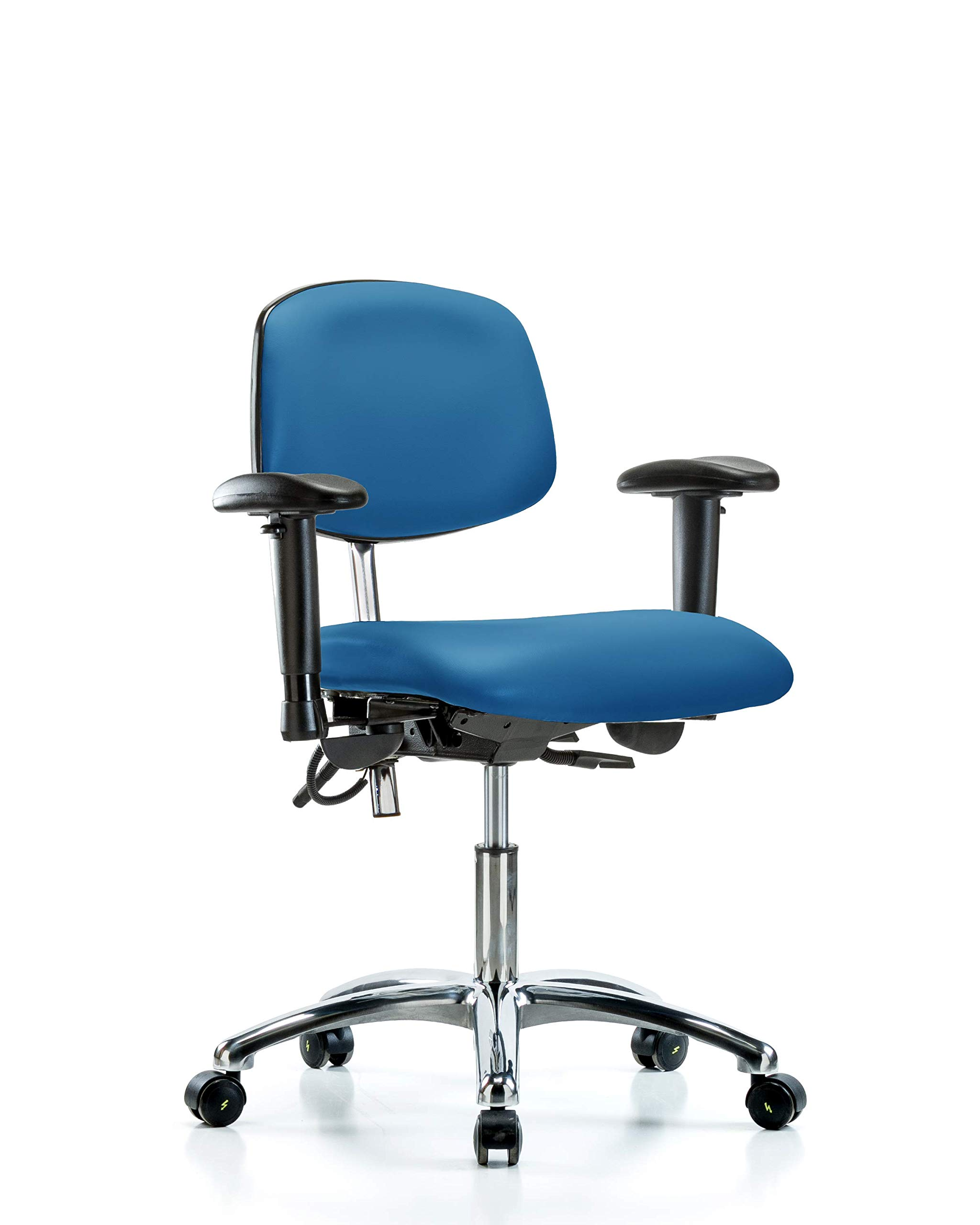LabTech Seating LT43511 Class 100 Clean Room/ESD Vinyl Desk Height Chair Chrome Base, Tilt, Arms, ESD Casters Blue by LabTech Seating